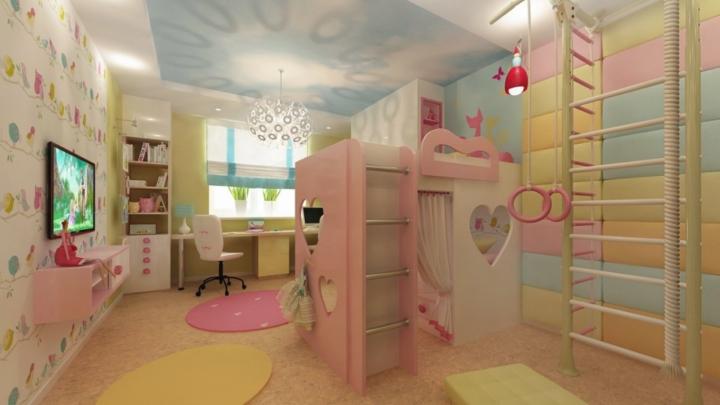 Детская комната для девочек прямоугольная комната