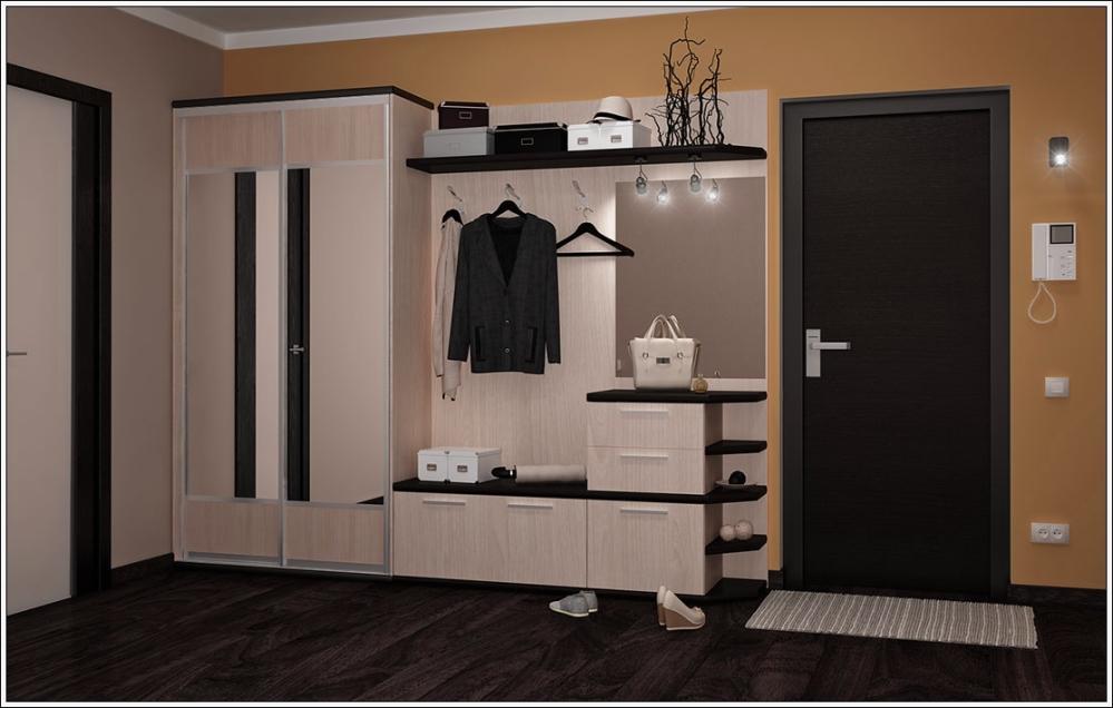 Пример расположения гардероба в прихожей
