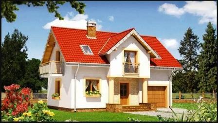 Белый дом с красной крышей