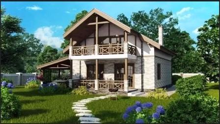 Кирпичный дом в зелени с дорожкой