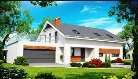 Большой белый дом с верандой на крыше гаража
