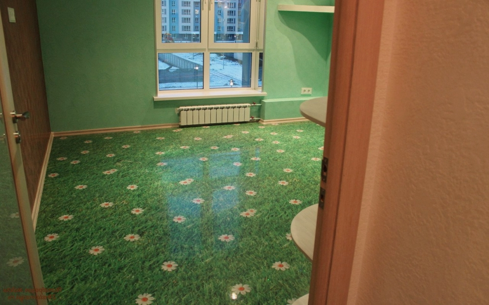 Зеленый луг - это отличный вариант для спальни или детской