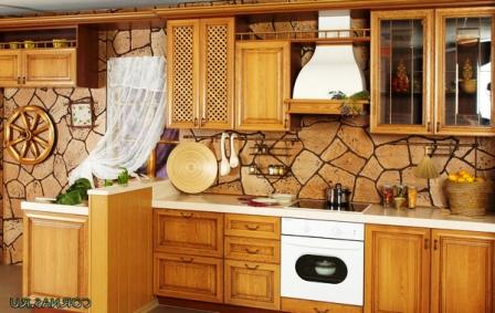 отделка стены в кухне деревенский стиль