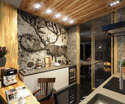 олень на кухонной стене