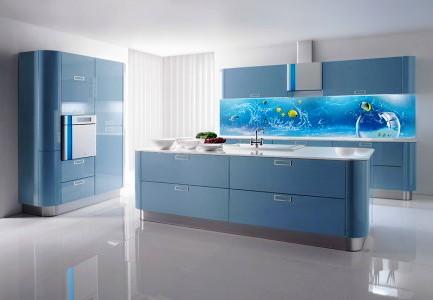 голубое стекло на фартук с дельфинами